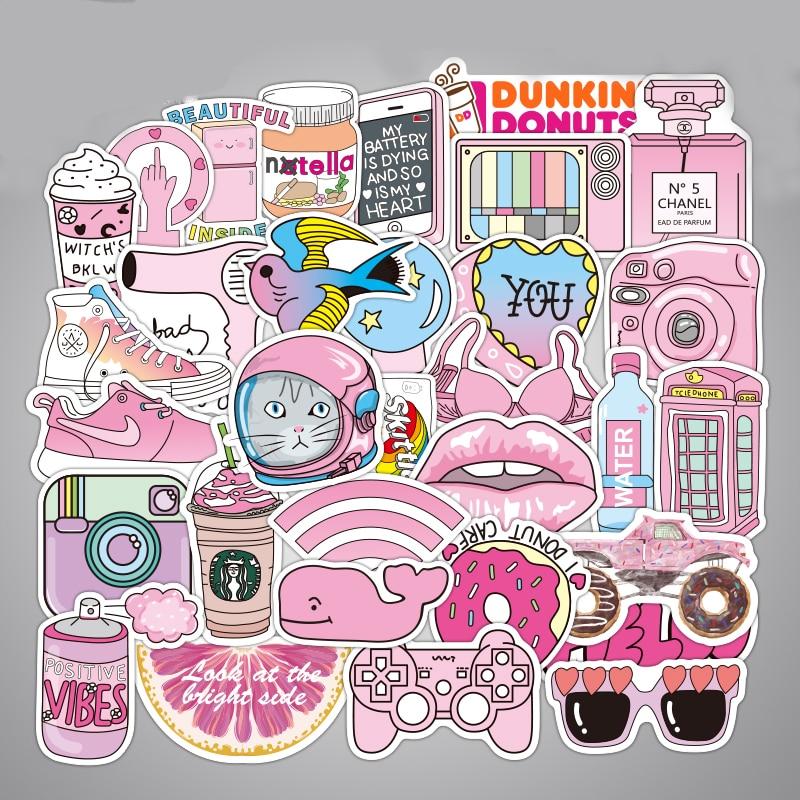 50 unids/pack impermeable juguetes de pegatinas de diversión para niñas rosadas para monopatín para niños DIY maleta decorativa Cool Fashion Laptop Stickers