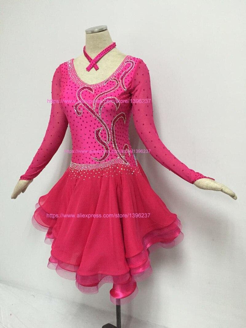 Latina vestido de baile de competición de alta calidad de Rosa caliente Sexy Samba Rumba Jive latín, Chacha Falda de baile