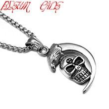 Hiphop/Rock Mens Cresent Moon Grinning Skull Pendant Necklace Eagle Head Stainless Steel Biker Necklaces
