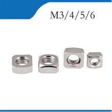 Écrou carré en acier inoxydable DIN557   GB39 M3 M4 M5 M6 304 (pas de galvanisation bon marché) 50 pièces HW052