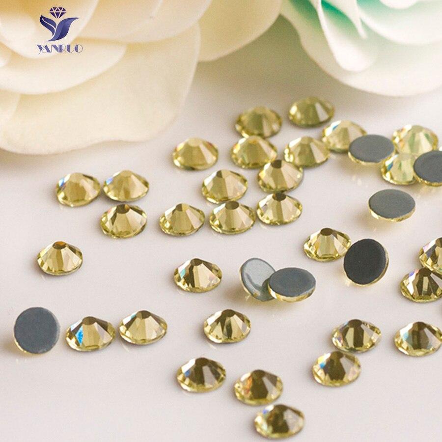 YANRUO-diamantes de imitación para ropa, piedras amarillas de Cristal, costura, Hotfix, SS16, 3,8-4,0mm, Jonquil, 2058HF