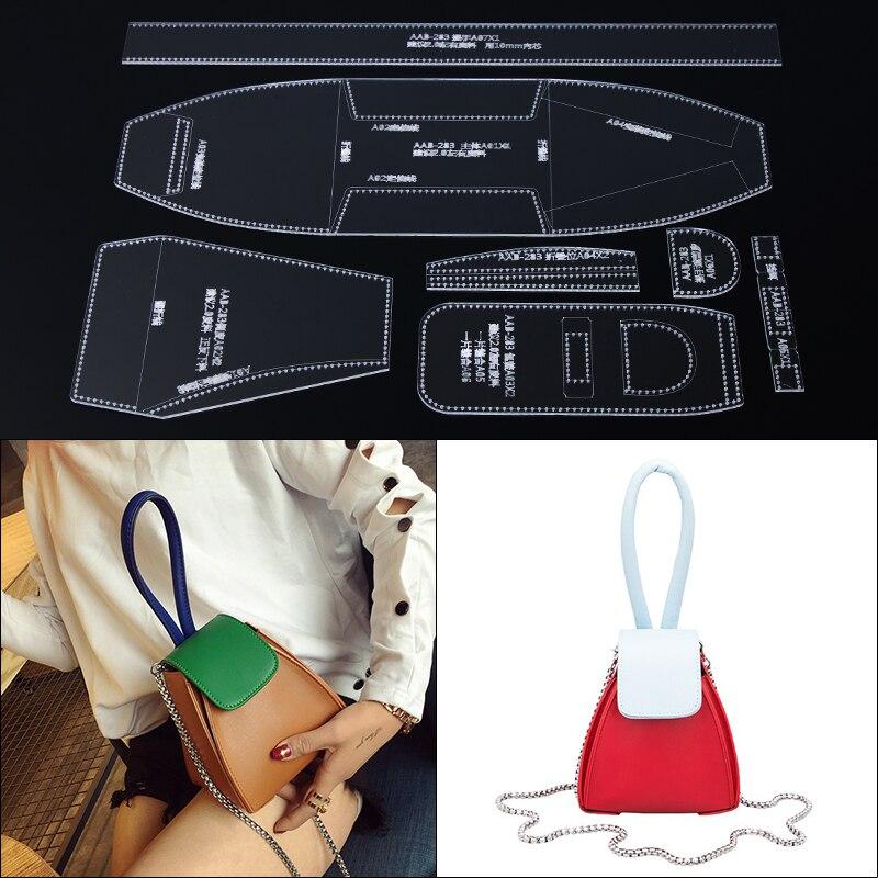 1 set Bolsa de Ombro Mulheres Bolsa de Couro Modelo de Acrílico Transparente DIY Template Leathercraft Ferramentas Conjunto 14*15*14 cm