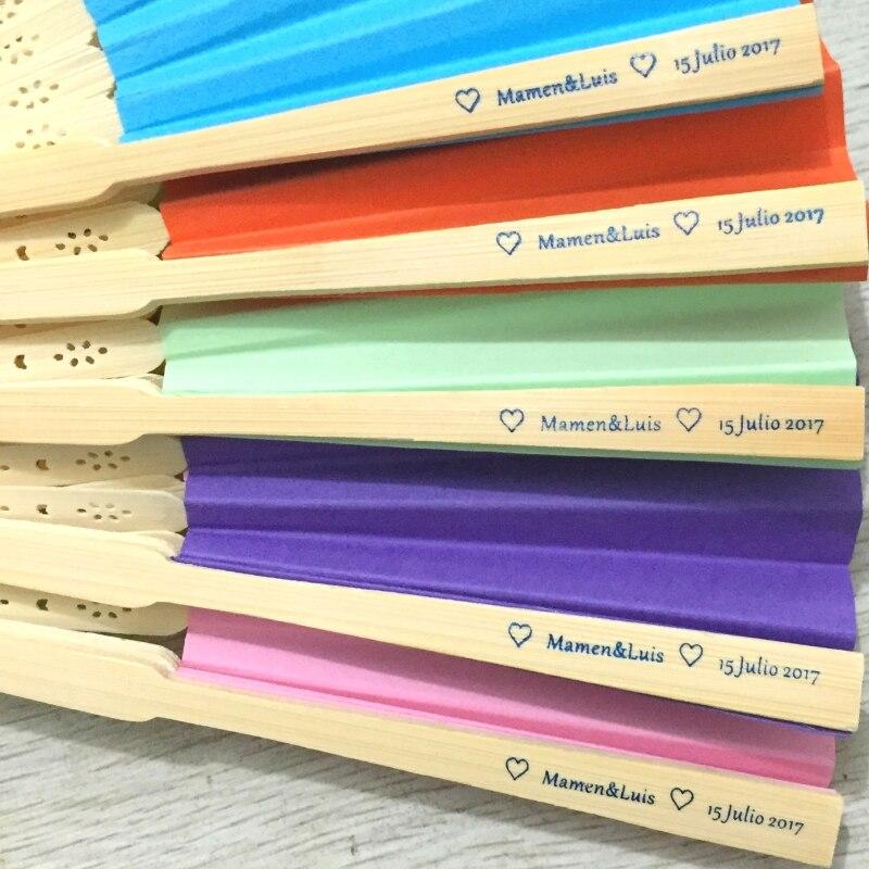 50 قطعة/الوحدة شخصية الزفاف هدية اليد مروحة الملونة ورقة المشجعين مع 15 الألوان المتاحة في الأبيض الأورجانزا أكياس