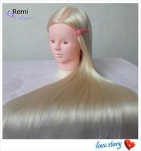 Maniquí económico maniquí de cosmetología, cabezas de Maniquí de peluquería 100% cabeza de Maniquí de entrenamiento de cabello sintético rubio con cabello Natural