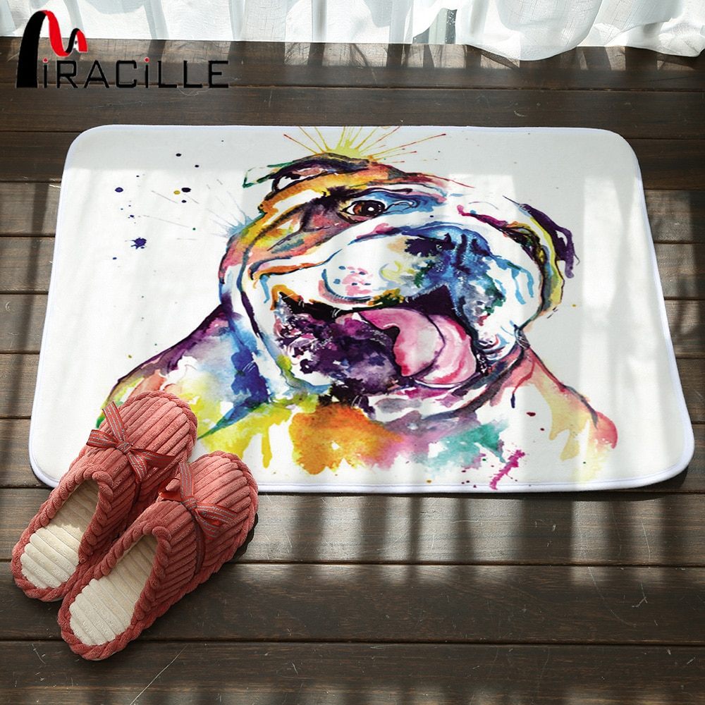 Miracille interior tapete para piso exterior lindo perro patrón de Bulldog Francés Puerta de baño alfombra Coral alfombrillas de vellón para sala de estar dormitorio