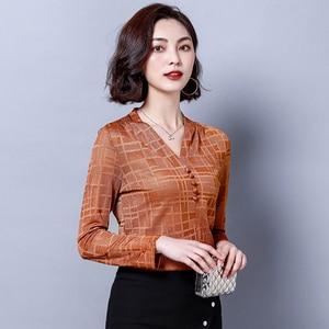 Женская Базовая рубашка с треугольным вырезом J40781, Офисная коричневая шифоновая футболка
