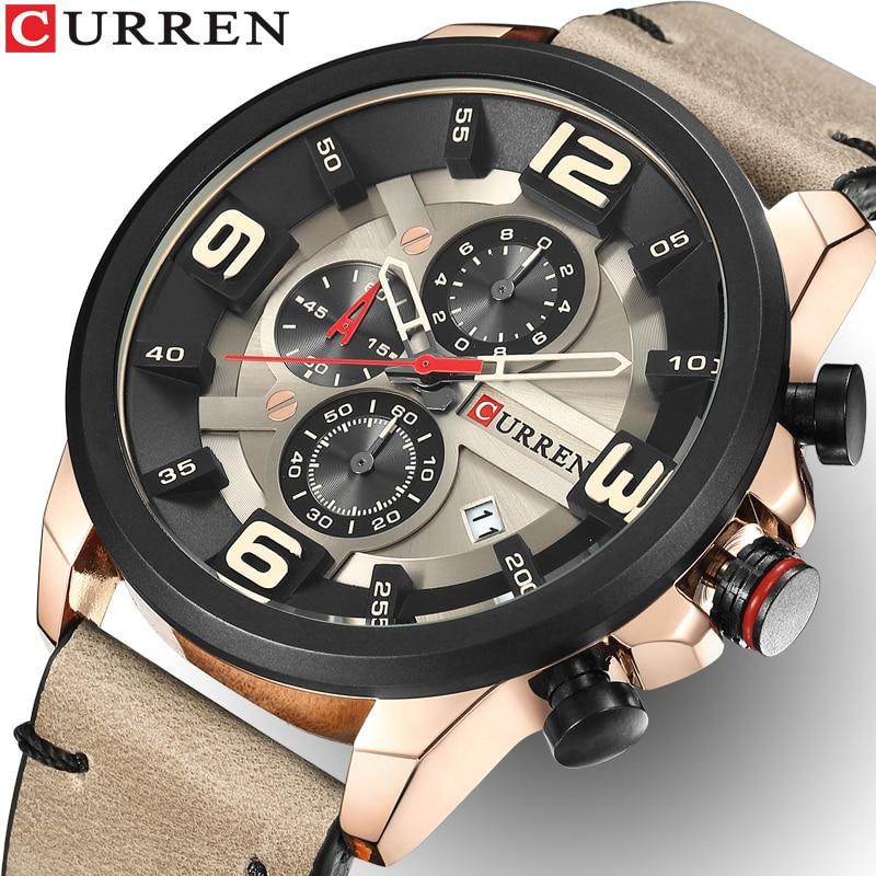 CURREN Men Watches Top Brand Luxury Quartz Gold Watch Men Casual Leather Military Waterproof Sport Wrist Watch Relogio Masculino