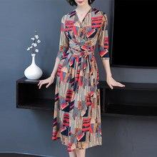2019 Spring New V-neck Mid-length Dress Print A-line 3xl Plus Size Women Ol Style Casual Dress Women Party Dresses
