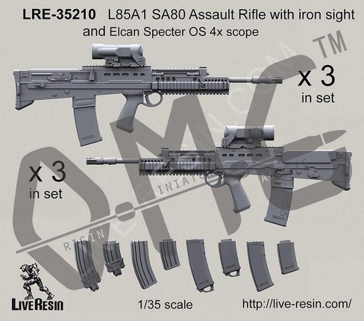 [Набор масштабных моделей] живая Смола LRE-35210 1/35 L85A2 SA80 штурмовая. Винтовка с железным прицелом и элкан Спектер OS 4x область
