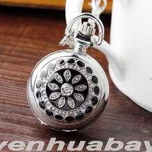 Fashion Silver Bronze Flower Design Necklace Pendant Chain Women Men Quartz Pocket Watch