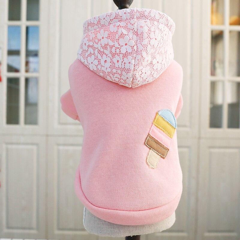 Vestido para animais de estimação teddy pomeranian bichon roupas para cães filhote de cachorro bonito primavera sorvete camisola com capuz