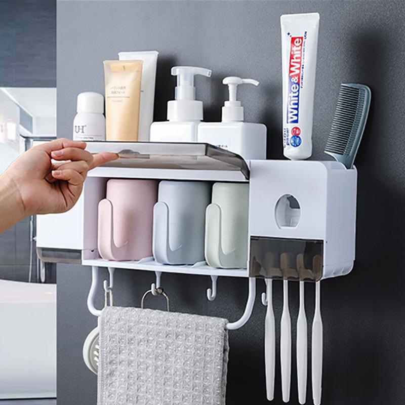 Dispensador automático de pasta de dente, suporte para toalha para montagem na parede, acessórios para banheiro, gancho e pasta de dente