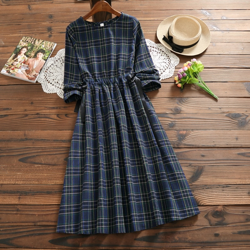 Vintage Autumn Spring Women Plaid Dress Mori Girl Cotton Linen Elegant Female Vestidos Long Sleeve Casual Loose Long Dress