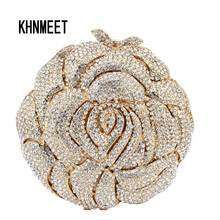 Gold rose flower shape Luxury evening bags crystal clutch bag women wedding pochette bride Handcraft soiree purse SC113