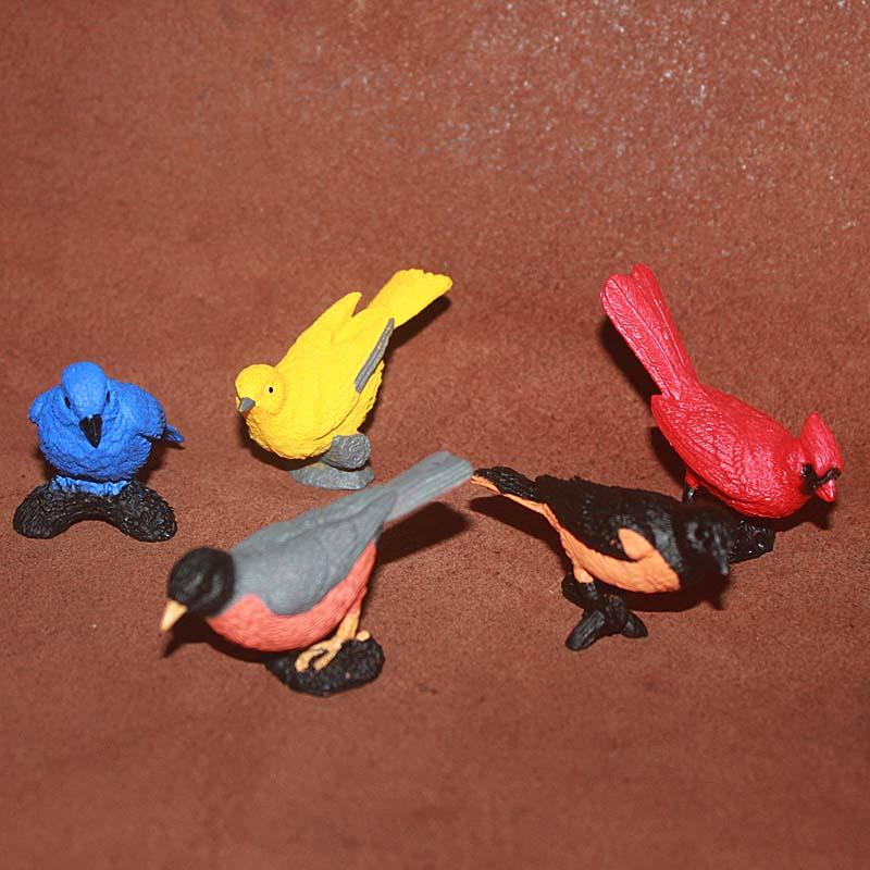 pvc figure bird Indigo Bunting, Oriole, early childhood education model toys 5pcs/set