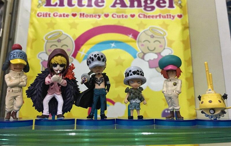 Anime uma peça 6 pçs/set trafalgar lei corazon pvc figuras de ação brinquedos modelo brinquedos colecionáveis