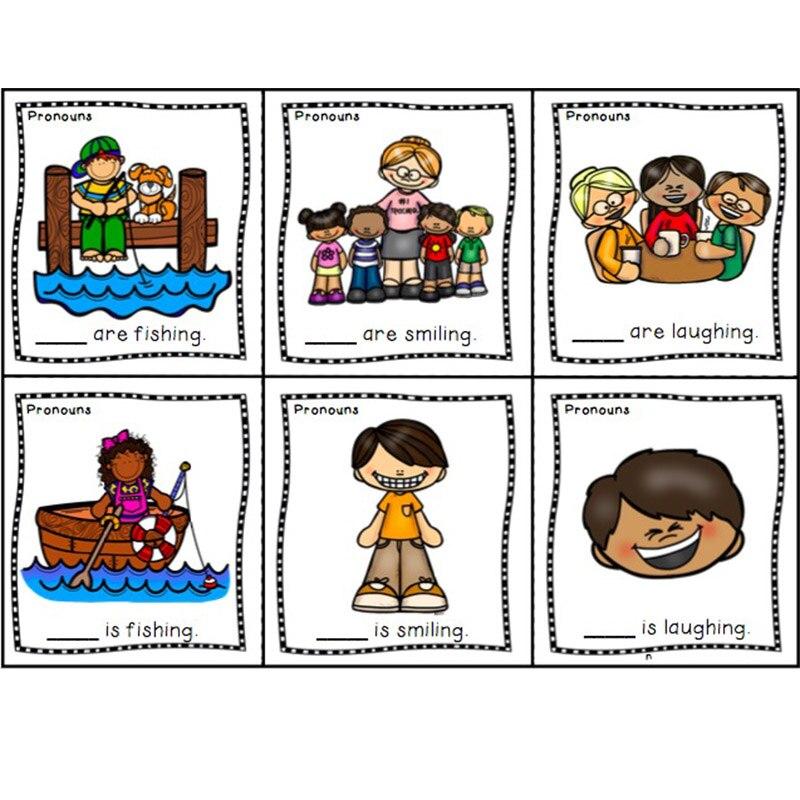 16 unids/set inglés Pronouns he she it Blank palabra Flash tarjeta educación temprana niños enseñanza ayuda A4 sello de plástico