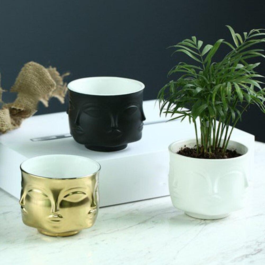 Vaso Artistic Human Face Pattern Vases for Flower Ceramic Plants Flower Pot Flower Container Planter Home Decor Nordic Decor