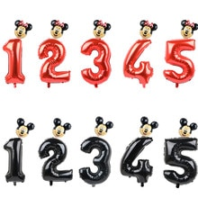 FUDANL 32 인치 레드 블랙 번호 호일 풍선 미키 미니 헤드 풍선 그림 1 2 3 4 5 년 어린이 소년 소녀 생일 파티 장식