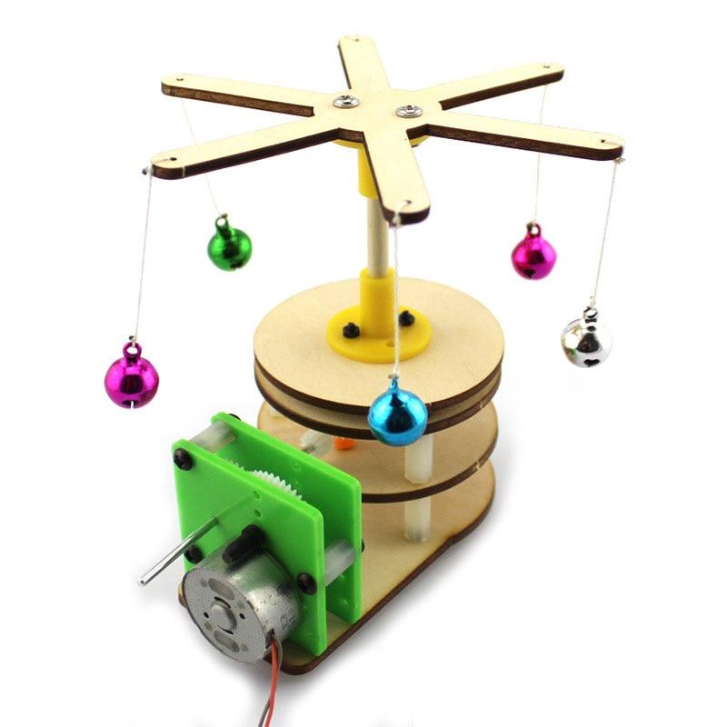 DIY Rotating Bell Wood Horse Handmade Toys Physical Gizmo Building Blocks Kits Solar Energy Assembled Toy Teaching Tool