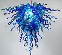 Populaire maison lumières décoratives LED lustre contemporain Style soufflé à la main en verre bleu lustre en cristal éclairage