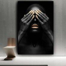 Siyah el ve altın dudak çıplak kadın tuval üzerine yağlıboya Cuadros posterler ve baskılar afrika duvar sanat resmi oturma odası