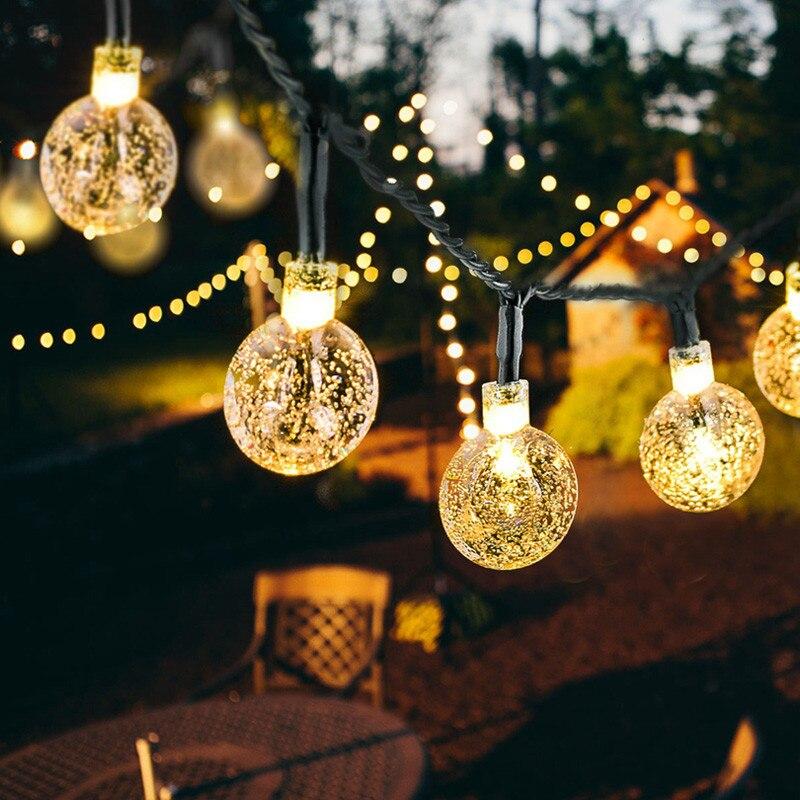 5M 10M Solar Lamp Crystal Ball LED String Lights Flash Waterproof Fairy Garland For Outdoor Garden Christmas Wedding Decoration