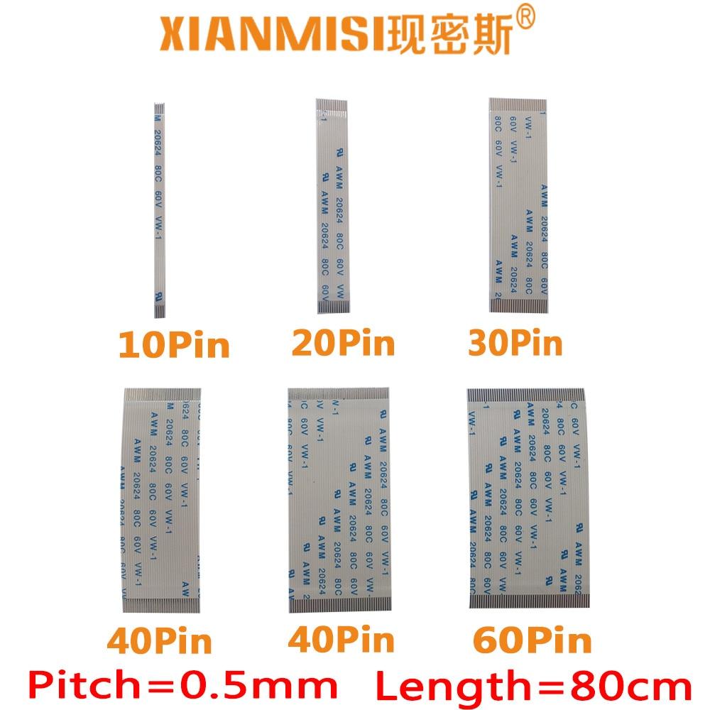 FFC/FPC plana cable de extensión flexible 10Pin 20Pin 30Pin 40Pin 50Pin 60Pin mismo lado 0,5mm AWM VW-1 20624 60V Longitud 80cm 5 uds