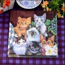 20pcs Cats printed Paper Napkin Festive Party Tissue Napkin Decoupage Wedding Party Baby Shower Decor