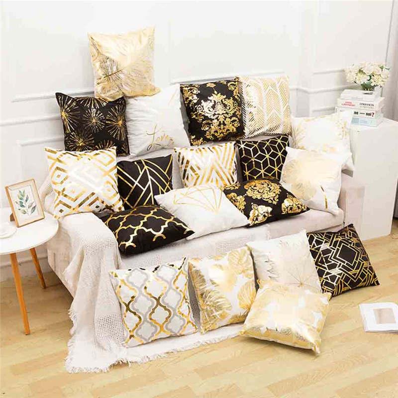 Funda de almohada de poliéster con letras doradas, funda de cojín para sofá y coche, funda de cojín a la moda de camuflaje para absorber el sudor, almohadas Faux 19APR29