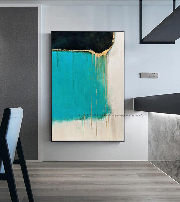 Pintura abstracta hecha a mano de lienzo azul, imágenes artísticas de pared...