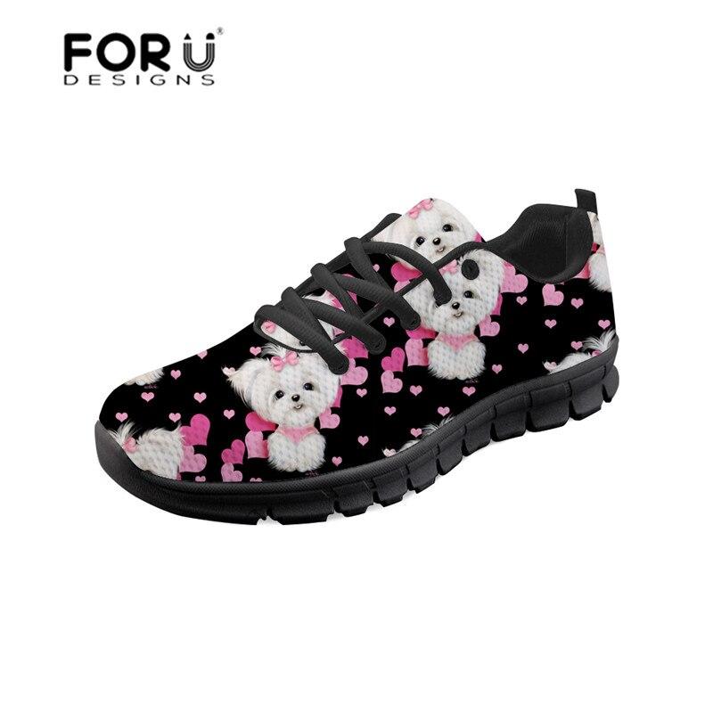 FORUDESIGNS, zapatillas planas informales, zapatillas femeninas maltesas con estampado floral, zapatos de mujer con plataforma con cordones, zapatos de malla para otoño 2018
