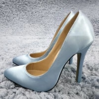 women stiletto thin high heel pumps sexy pointed toe sky blue satin party ball fashion lady shoes 119 b10