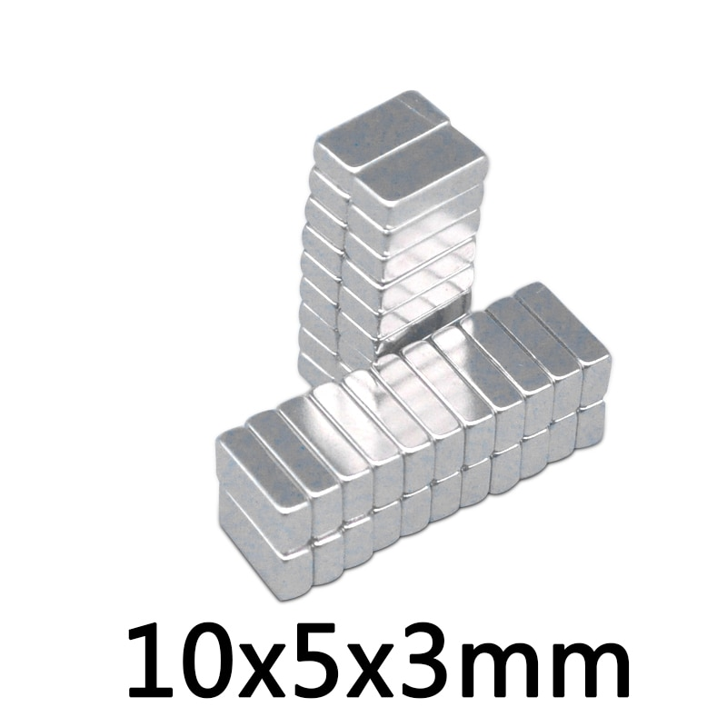 50pcs 10x5x3 mm N35 Strong Square NdFeB Rare Earth Magnet 10*5*3 mm Neodymium Magnets 10mm x 5mm x 3mm