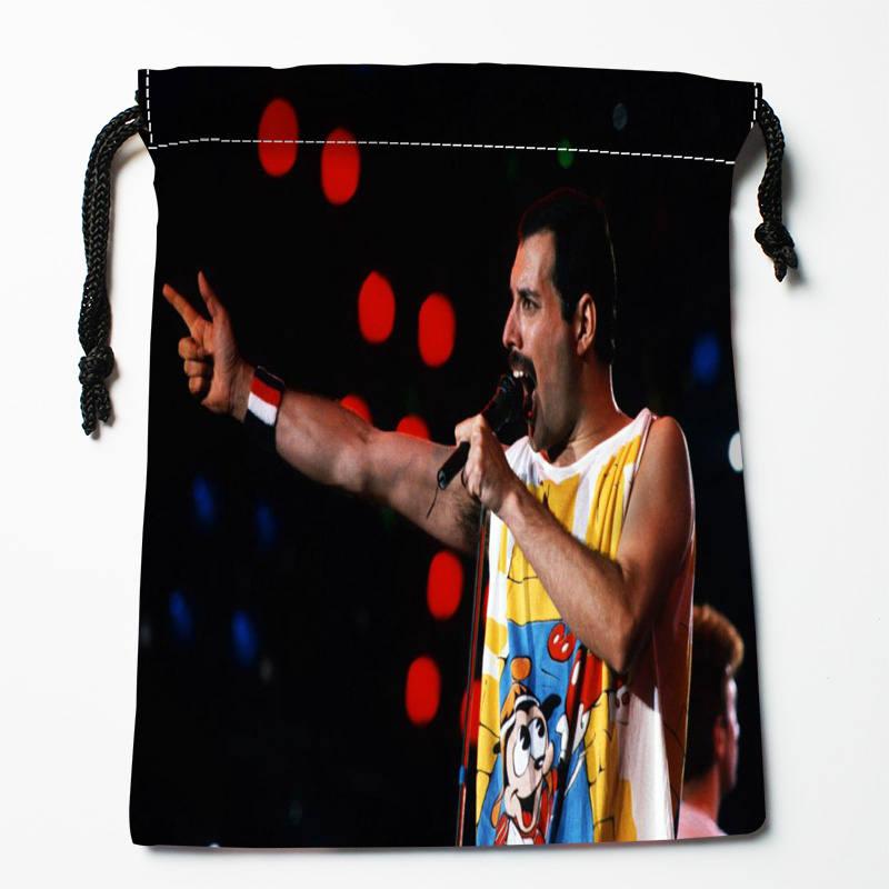 Custom Freddie Mercury printed Satin storage bag drawstring gift bags More Size storage custom your image 18*22cm