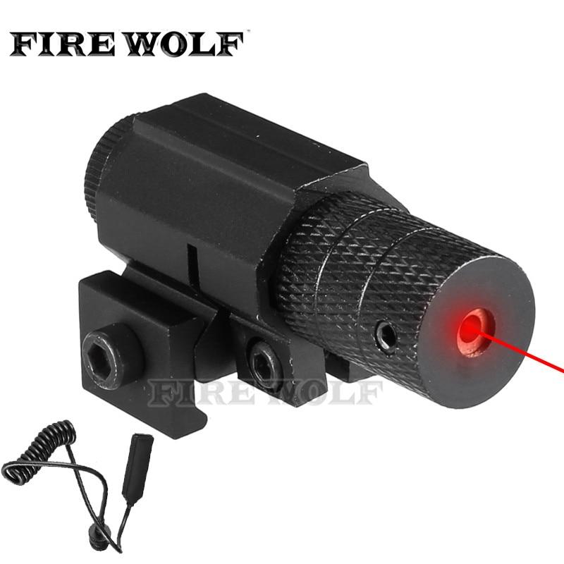 Lobo de fogo tático red dot mini mira laser vermelho com interruptor da cauda escopo pistola alongar cauda de rato caça óptica laser