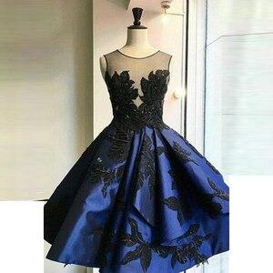 Royal Blue Evening Dress Appliques Neck Sleeveless Robe De Soiree Evening Dresses Mid Calf Length Vestido De Festa Longo