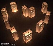 Lanterne en papier 10 pièces   Livraison gratuite, support de thé en forme de cœur, Luminaria, sac de bougie, cadeaux de maison pour la saint-valentin, décoration de fête