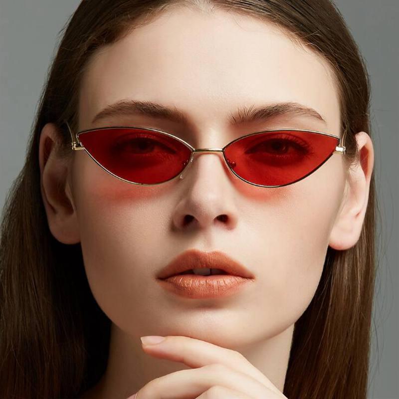 Mode Sexy Cat Eye Sonnenbrille Frauen Vintage Kleine Schwarz Rot Rosa Cateye Sonnenbrille Weibliche Retro Shades für Frauen