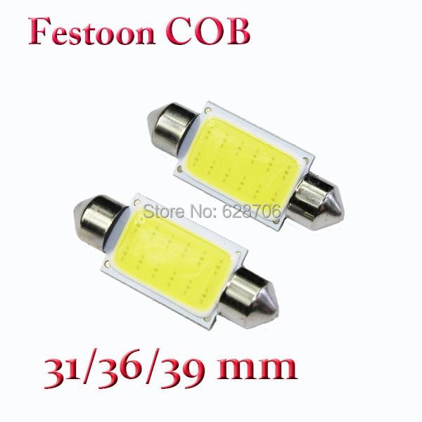 Car festoon COB Light C5W 31/36/39/41mm 12 chips Auto Dome Door License plate Bulbs Light Map Lamp White