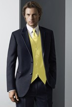Custom Made Groom Tuxedo Navy Blue Groomsmen Notch Lapel Wedding/Dinner Suits Best Man Bridegroom (Jacket+Pants+Tie+Vest) B209