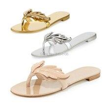 Shooegle cruel 여름 해변 신발 앵글 윙 플립 플롭 숙녀 플랫 신발 끈 슬라이드 샌들 여성 리프 슬리퍼 zapatos mujer