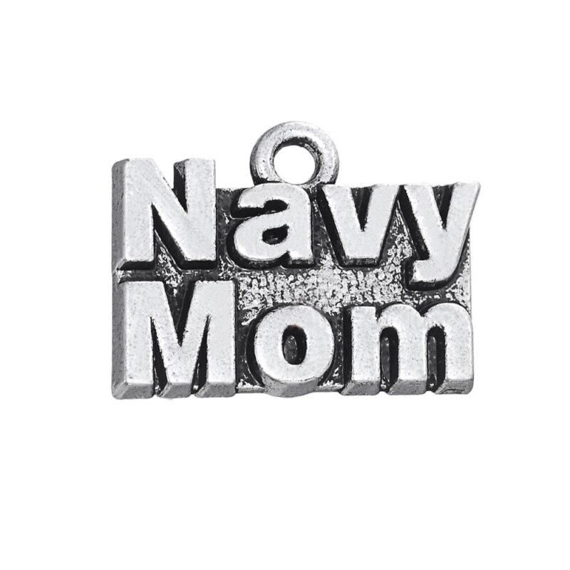RAINXTAR 50 piezas aleación carta Marina mamá mensaje encantos para regalos de la Marina 15*20mm AAC771