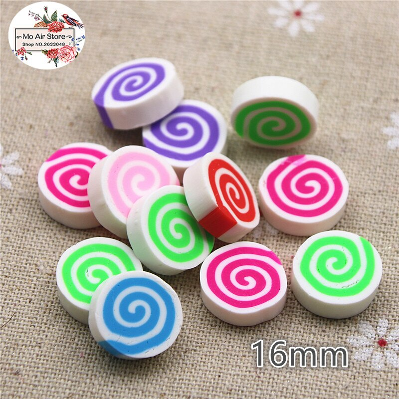 20 piezas de arcilla polimérica circular caramelo multicolor miniatura de cabujón plano decoración con forma de comida suministro Decoden encanto artesanal 23x30mm