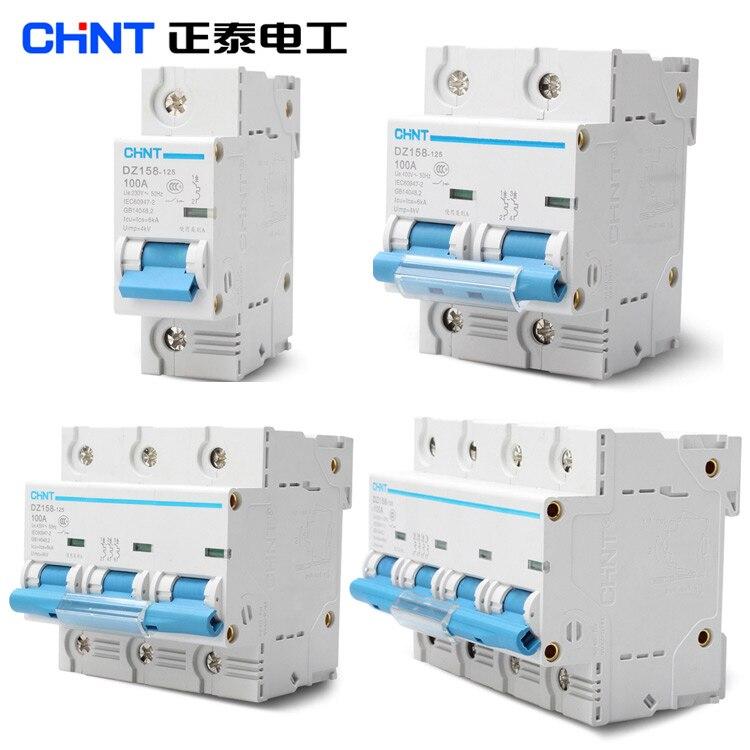 CHINT disjuntor de alta potência casa DZ158 1 p p p p 80A 4 3 2 100A 125A interruptor do ar