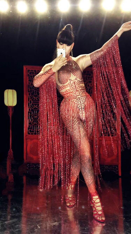 Desnudo Sexy traje de borla Cosplay disfraz rojo atuendo con diamantes de imitación de rendimiento de las mujeres etapa ropa espectáculo de baile fiesta desgaste DJ DS