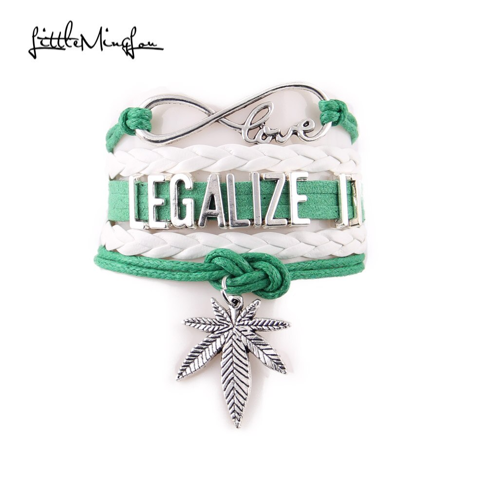 Pequeño minglou 4 color infinito amor legalizarlo pulsera hoja dije de concientización pulseras de cuero para hombre y brazaletes para mujer joyería