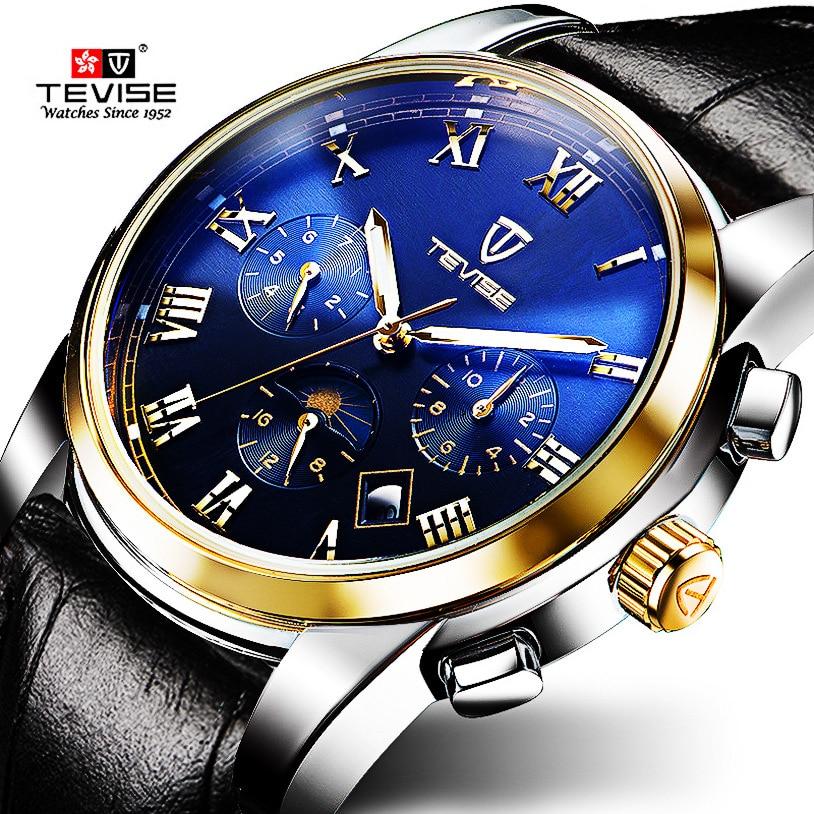 Reloj Mecánico TEVISE, reloj luminoso de 30m resistente al agua con fecha automática para hombre, marca china, relojes de moda 2020