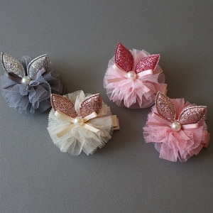 4pcs/lot Rabbit Ears Glitter Felt Hair Clip Modish Girls 5cm Hair Grip Gauze Princess Pearl Lovely Ribbon Bowknot Hair Barrettes
