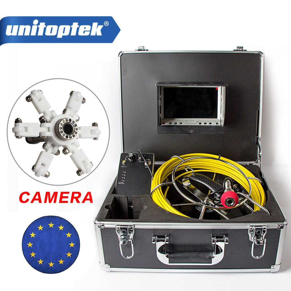 "7 ""TFT LCD impermeable tubería alcantarillado sistema de inspección CMOS 1000TVL 12 Leds vista nocturna endoscopio cámara con Cable de varilla de fibra de vidrio"